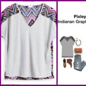 Pixley Indianan Graphic V Neck Tee Blouse XL